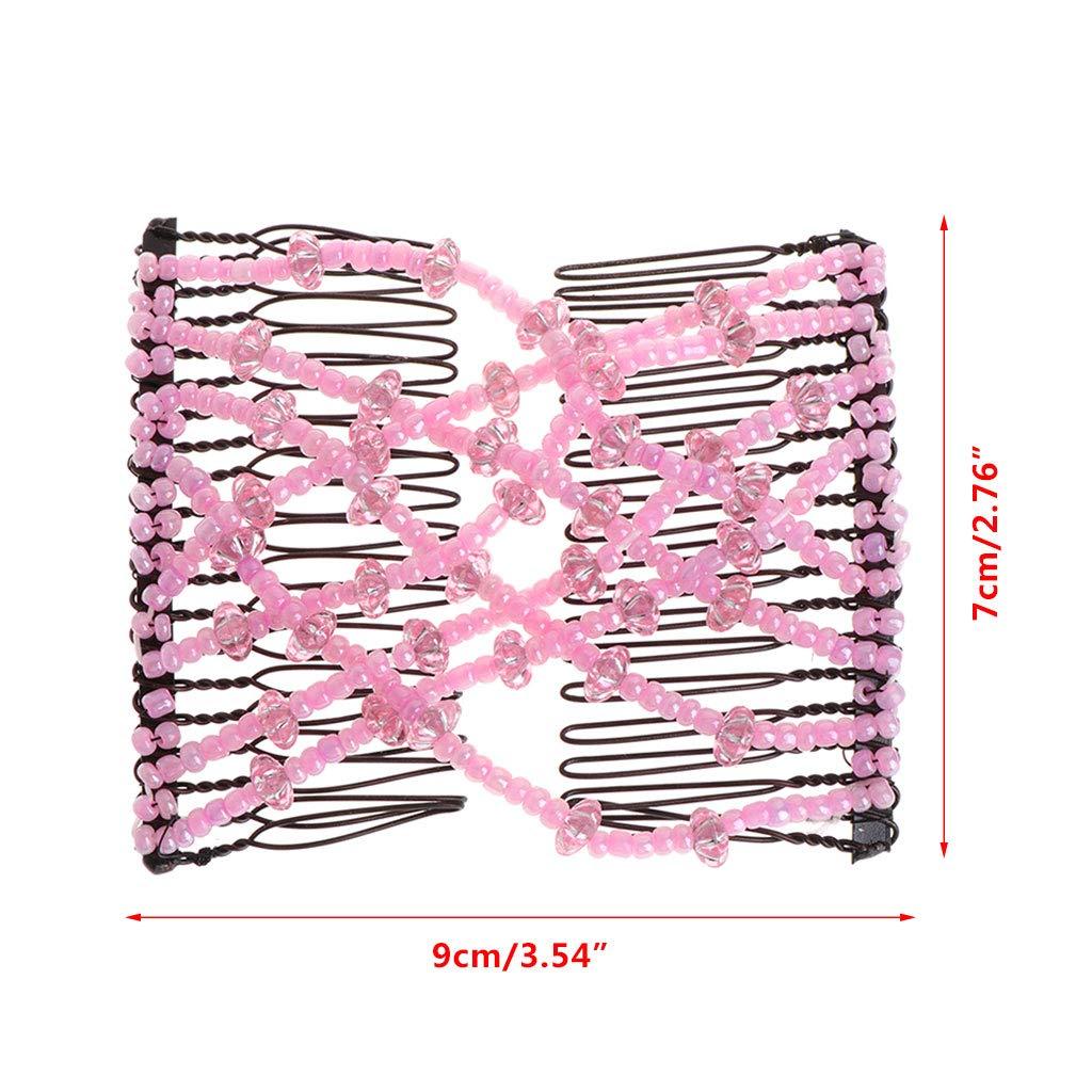 Mujeres Headwear El/ásticos Doble Horquillas Accesorios de Elasticidad con Cuentas ead Color Randon on SimpleLife Magic Comb Hair Clip