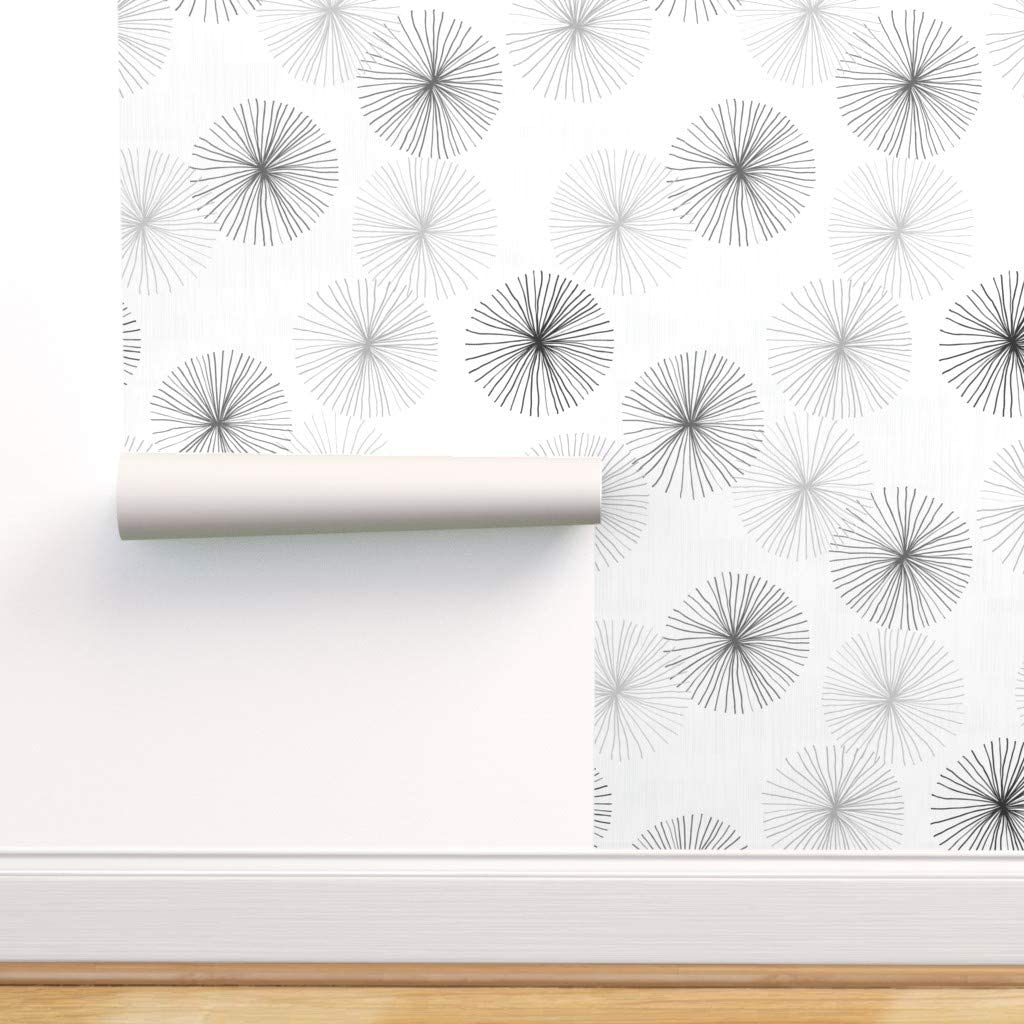Wallpaper Roll Minimalist Mod Floral Black And White Flower 24in x 27ft