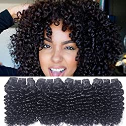 Brazilian Kinky Curly Virgin Human Hair Weave 4 Bundles Unprocesseed 100 Human Hair Extensions Real Remy 7A Grade Cheap Remi Short Black Natural Color 8 8 8 8 Inch One Bundle 50G Total 200G