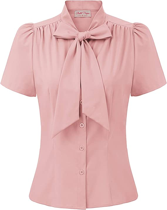 1930s Style Blouses, Shirts, Tops | Vintage Blouses Belle Poque Women Basic Tops Casual Shirts Short Sleeve for Work Office Lady 573 £22.99 AT vintagedancer.com