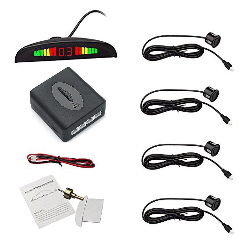 Eunavi Car Reverse Backup Radar System Reverse Parking Sensor, Universal Car Vehicle Backup AutoRadar Detectors System LED Display+High-Volume Warning Buzzer+4 Black Parking Sensors Reversing kit