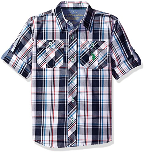 U.S. Polo Assn. Little Boys' Long Sleeve Plaid Two Pleated Pocket Sport Shirt, Classic Navy, 7 (Pocket Plaid Shirt Sport)