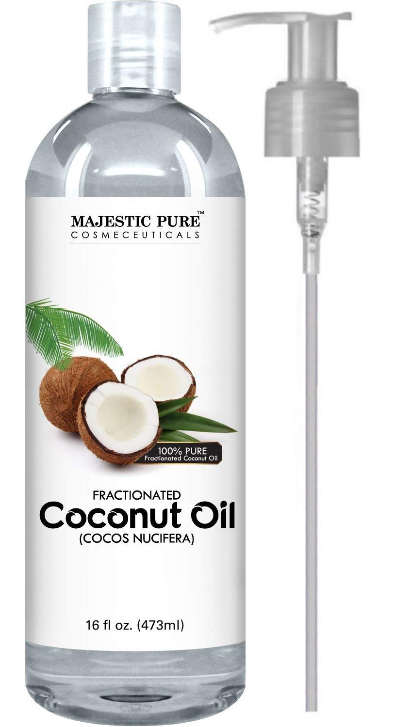 Amazon Com Majestic Pure Fractionated Coconut Oil For Aromatherapy Relaxing Massage Carrier Oil For Diluting Essential Oils Hair Skin Care Benefits Moisturizer Softener 16 Ounces Packaging May Vary Majestic Pure
