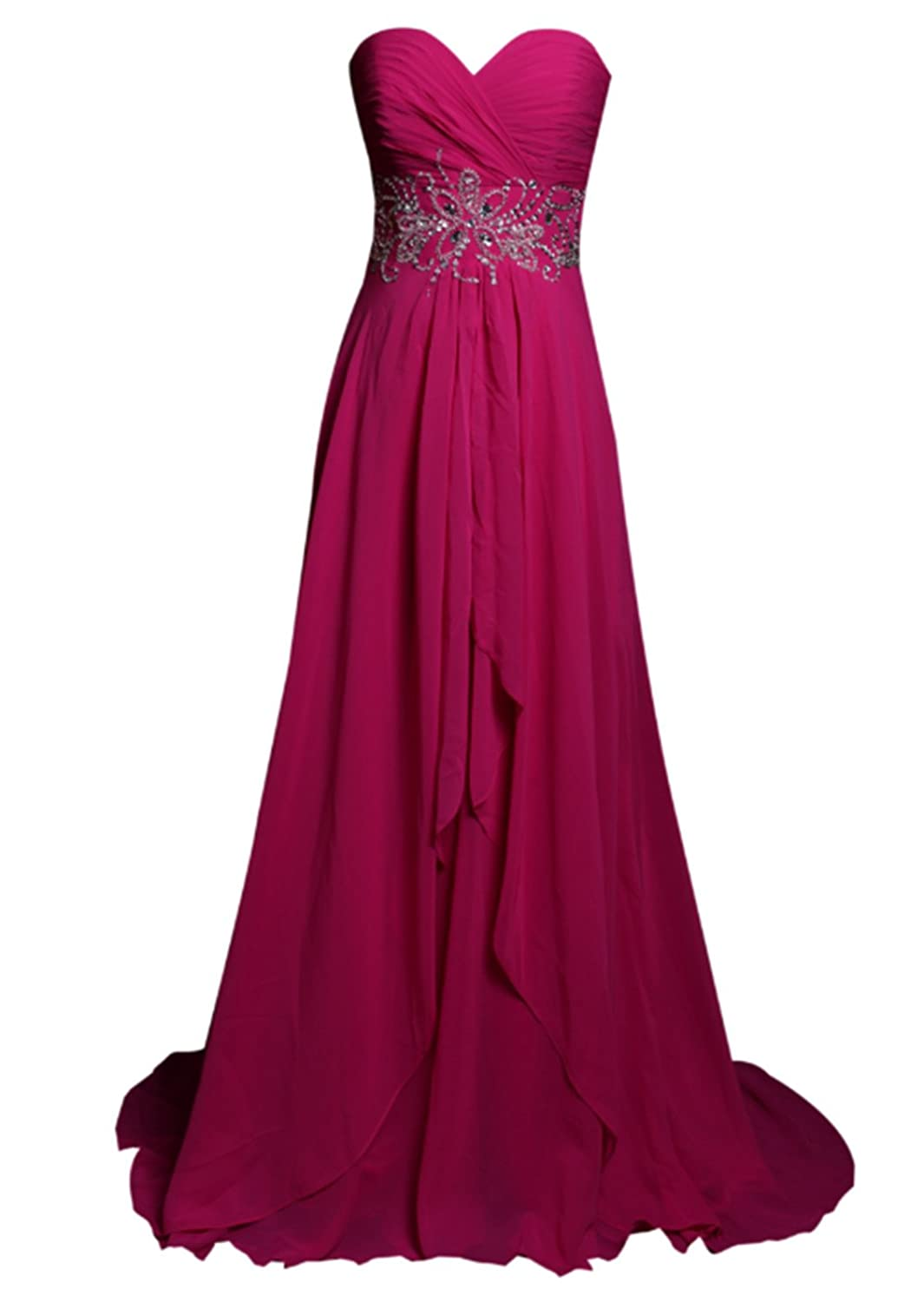 AngelDragon Off Shoulder Sweetheart Chiffon Long Prom Dresses Bridesmaid Gowns