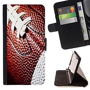 King Art - Premium-PU-Leder-Prima caja de la PU billetera de cuero con ranuras para tarjetas, efectivo Compartimiento desmontable y correa para la mu?eca FOR Sony Xperia Z1 C6902 C6903 C6906- American Football