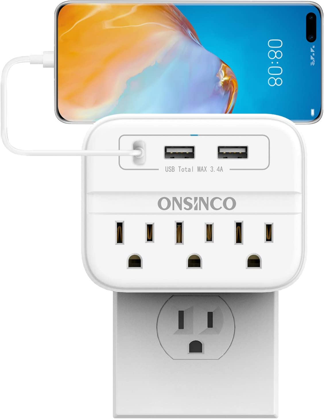 Wall Charger Outlet Extender, ONSINCO 3-Outlet Surge Protector Multi Plug Outlet with 3 USB Wall Charger(Total 3.4A), Outlet Adapter for Home, Office and School