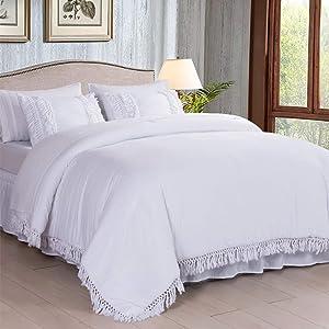 SexyTown White Boho Bed in a Bag Comforter Set Queen 8-Piece Ruffle Tassel Fringe Chic Bedding Comforter,All Season Ultra Soft Complete Set(1 Comforter, 2 Pillow Shams, 4PC Sheet Set, 1 Bed Skirt)