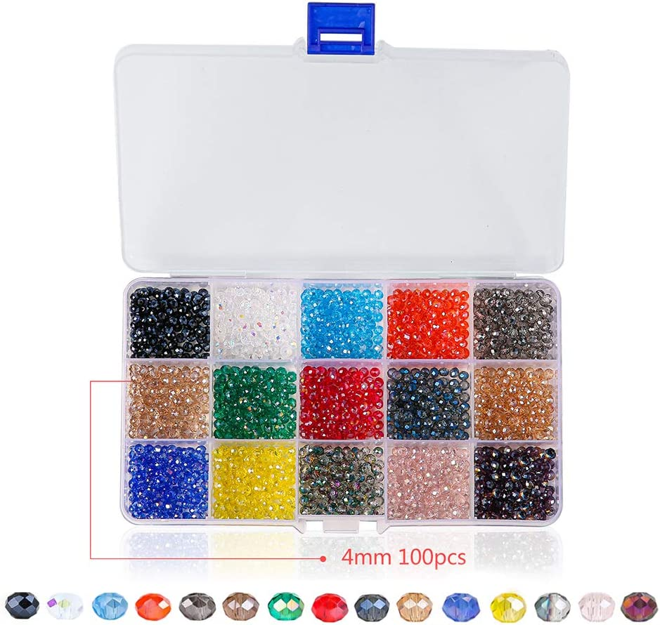 Amazon Com Novborcz 4mm Briolette Glass Beads For Jewelry Making 1500pcs Ab Color Faceted Rondelle Shape Colored Crystal Spacer Beads Used For Bracelets Necklace Accessories Jewelry Making