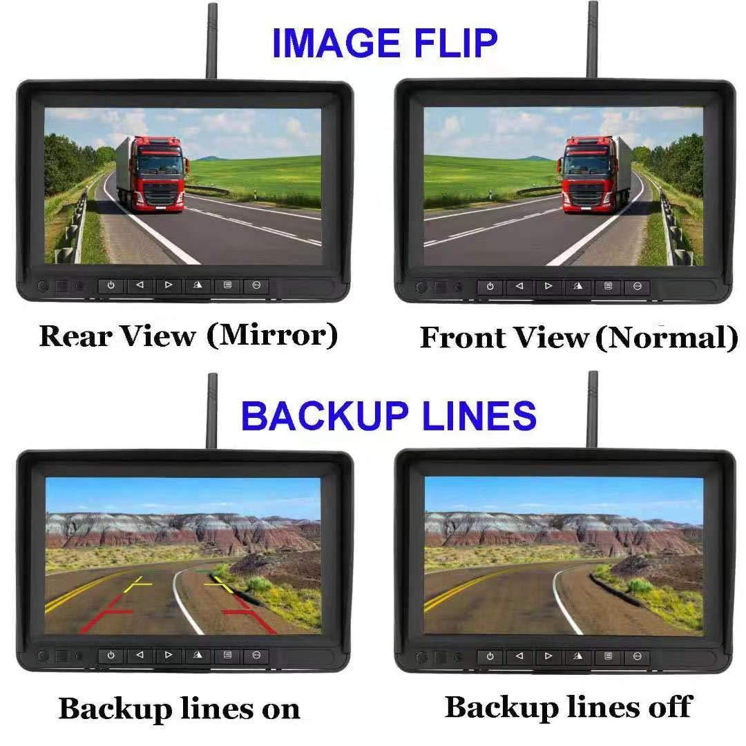 Aceeken Digital Wireless Backup Camera for RV,Trailer,Truck,Motorhome,Track Loader High Speed Observation//Backup Use,7 Inch Screen,Waterproof Camera Image Flip IR Night Vision Backup Guidelines ON//OFF