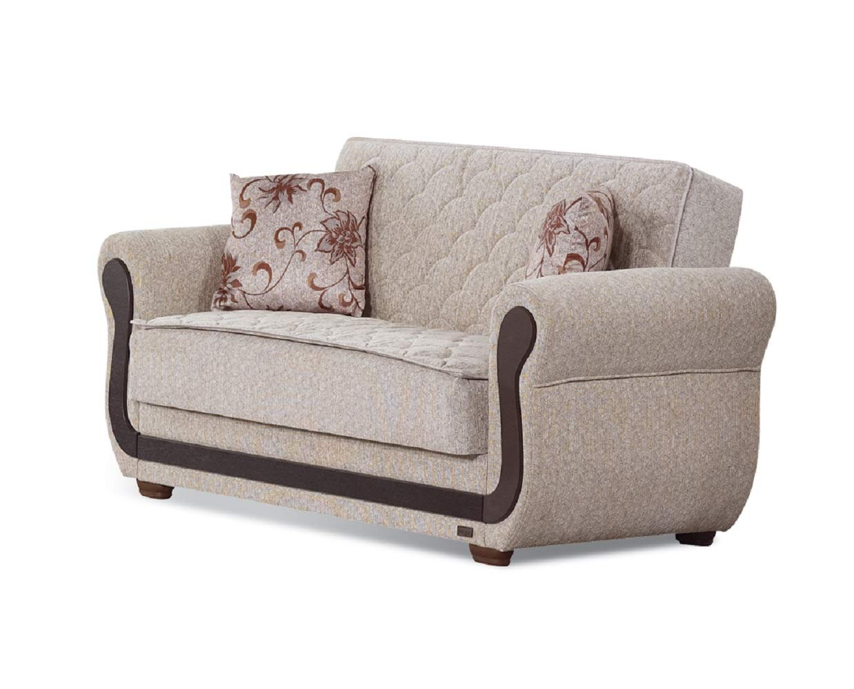 BEYAN Newark Collection Upholstered Convertible Storage Love Seat with Easy Access Storage Space, Includes 2 Pillows, Light Brown by BEYAN