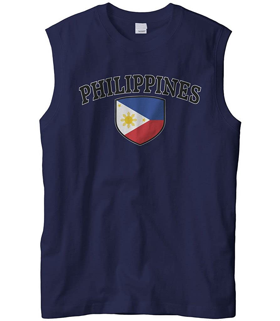 Cybertela Mens Philippines Flag Crest Shield Sleeveless T-Shirt