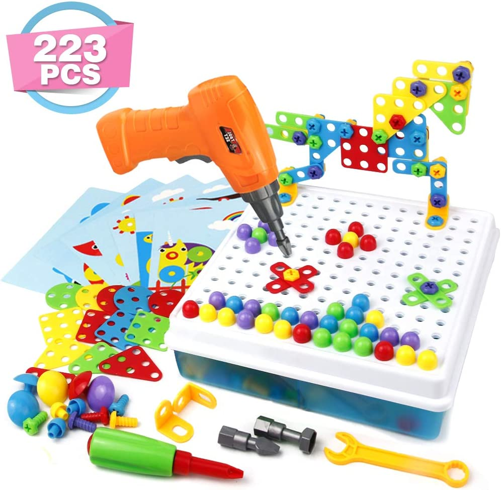 Symiu Bloques Construccion Rompecabezas Bricolaje 223 Piezas Puzzle Infantiles Tablero Caja Herramientas Juguete para Niños 3 4 5 6 Años