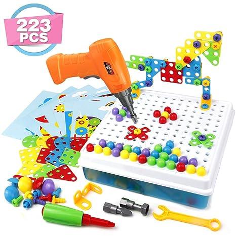 Holzspielzeug Mosaik Box aus Holz Puzzle zur Förderung der Kreativität Spielzeug Kinder Neu