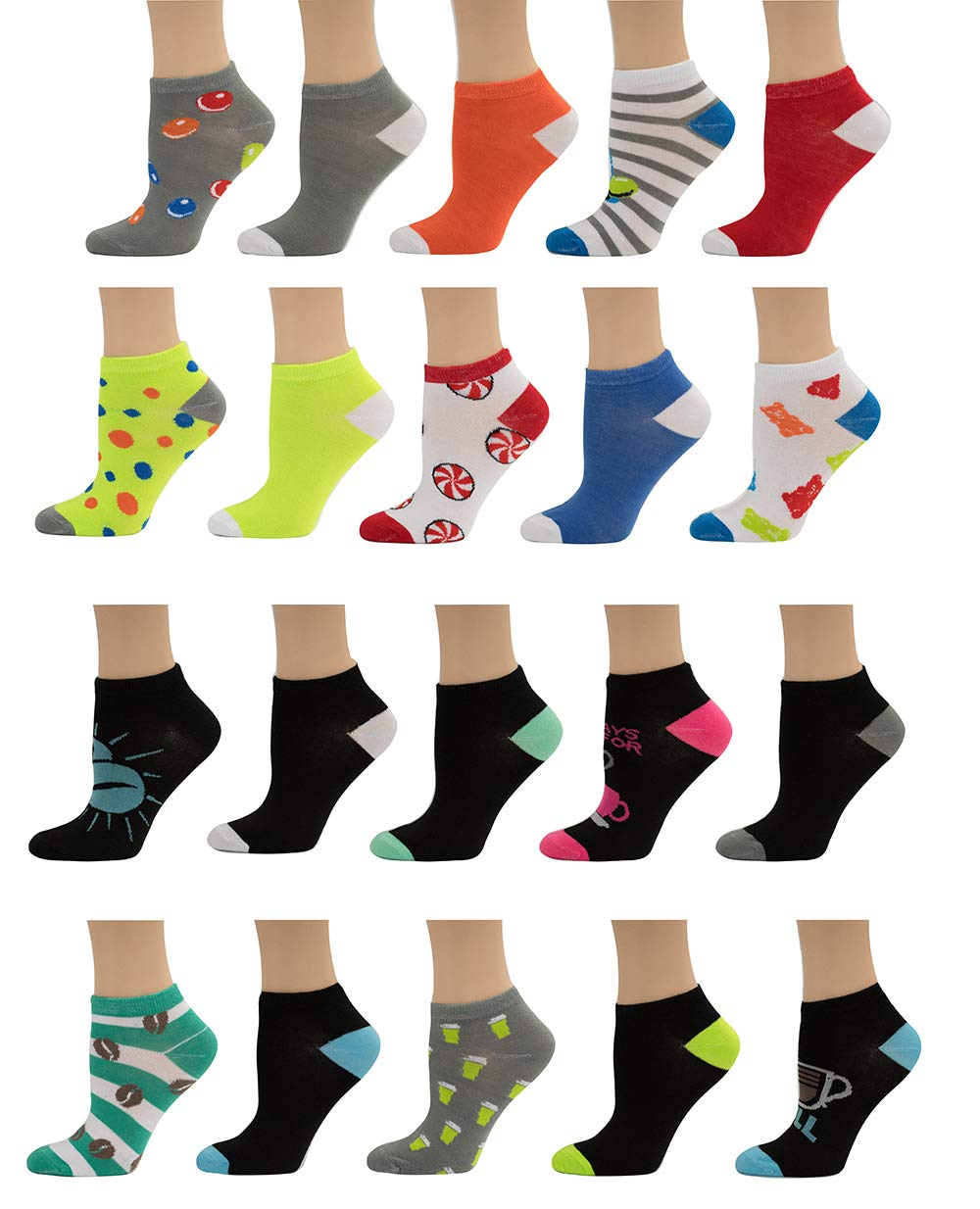 """Limited Time Offer! Women's Low-cut Socks""""20 Pair"""" (10 Pack + 10″Free"""" Pair)"""
