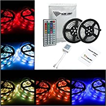 ALED LIGHT 10M (2 x 5M) Waterproof IP65 Led Strip RGB 5050 150 SMD RGB Rating Flexible Color Changing String with 44 Key IR Remote+Control Box for Home Lighting & Kitchen and Outdoor Decorative(Not include 12V 5A power adapter)