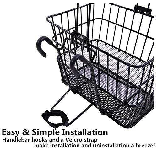 Ohuhu Bike Basket Rust Proof Quick Release Front Handlebar Bicycle Lift Off Baskets with Holder, Mesh Bottom