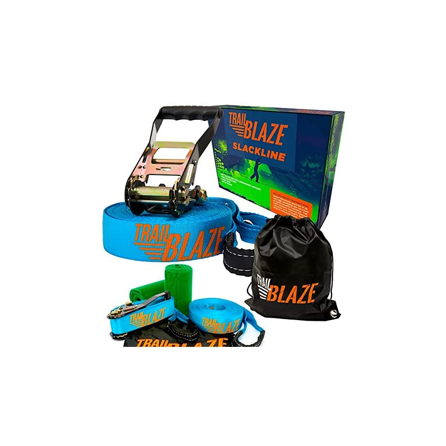 Trailblaze Slackline Kit with Tree Protectors, Ratchet Cover + Carry Bag Perfect Slack Lines for Family Healthy Fun. Easy Setup 50 ft Tight Rope Balance Strap