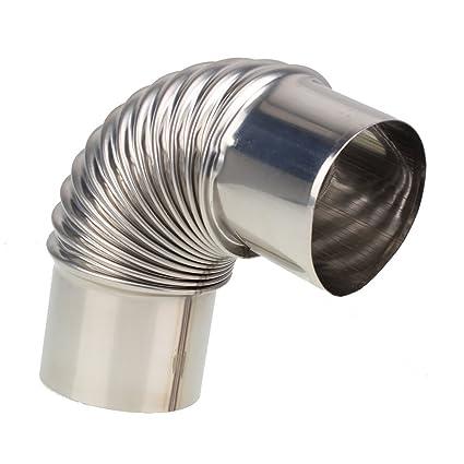 rdexp plata 6 cm codo tubo de escape de acero inoxidable ...