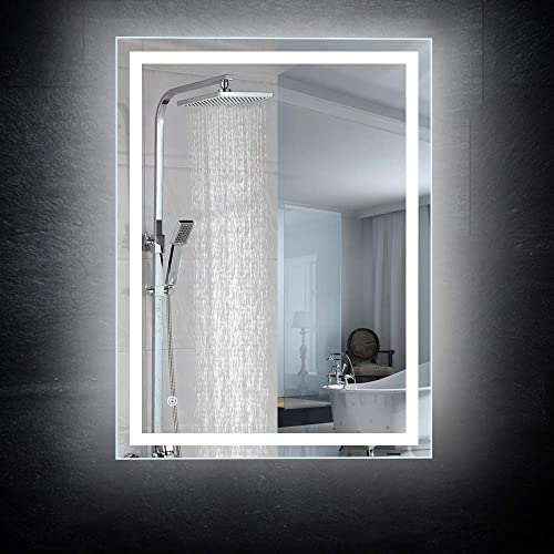 CASAMII 24×32 inch Led Lighted Wall Mounted Bathroom Vanity Mirror,Brightness Adjustable Anti Fog Switch UL Listed 6000K White 5580 Lumen Vertical Horizontal IP44 Waterproof