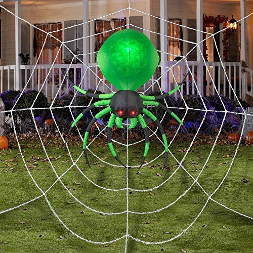 72 Inch Fire and Ice Hanging Spider Green Projection Halloween Inflatable - 17 Foot Web