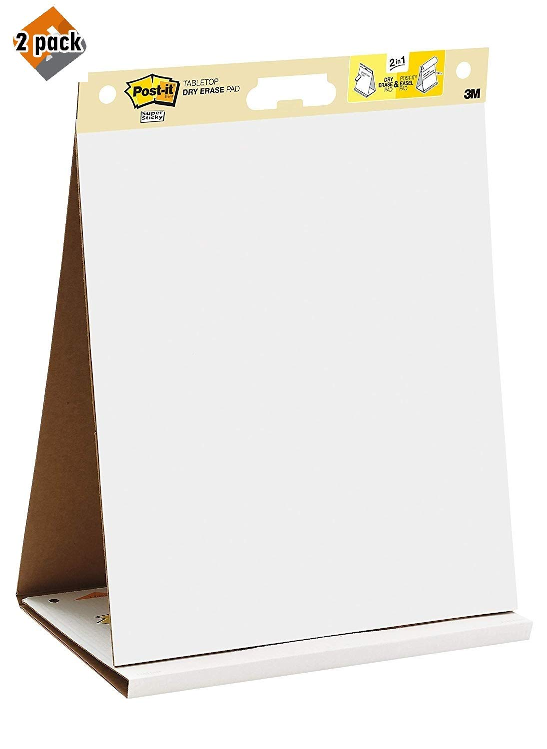 Post-it Super Sticky Tabletop Easel Pad, 20 x 23 Inches, 20 Sheets/Pad, 1 Pad (563R), Portable White Premium Self Stick Flip Chart Paper, Built-in Easel Stand, 2 Pack by Post-it