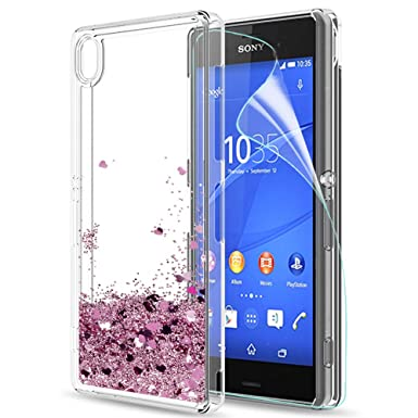 factory price aeb60 2f989 LeYi Sony Xperia Z3 Case with Screen Protector, Girl Women 3D Glitter  Liquid Cute Personalised Clear Transparent Silicone Gel TPU Shockproof  Phone ...