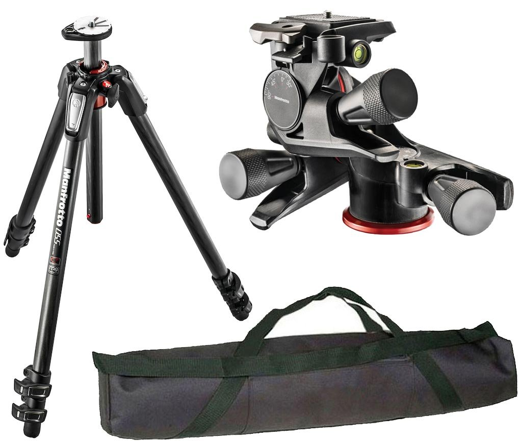 Manfrotto MT055CXPRO3 Carbon Fiber Three-Section Tripod with XPRO Geared 3-Way Head and a Calumet Carry Case