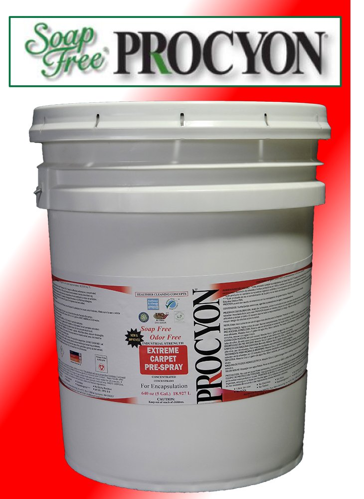 1 Each- 5 Gal. Pail (640 oz.)- Soap Free PROCYON Extreme! Pre-Sray Carpet Cleaner Concentrate. Use for Encapsulation Cleaning and Much More.
