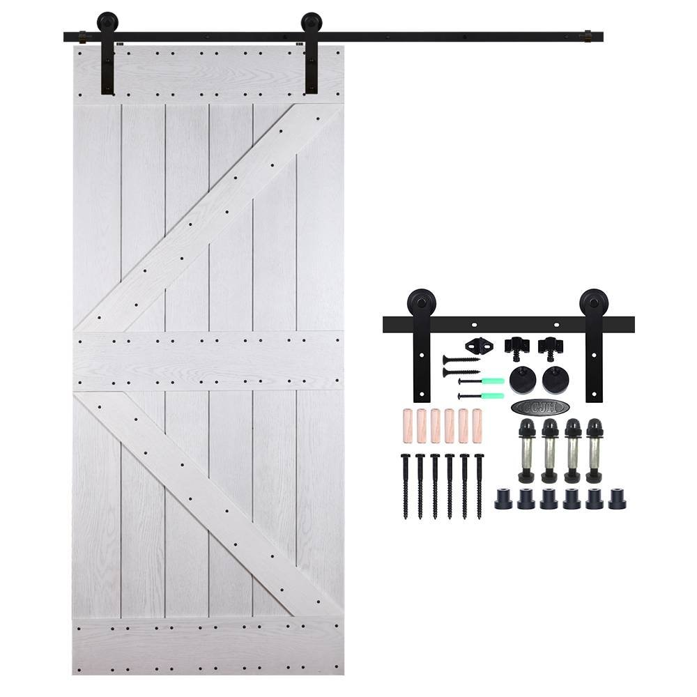 CCJH Country Classic Steel Interior Single Sliding Barn Door Hardware Kit 7 Ft Black by CCJH (Image #1)