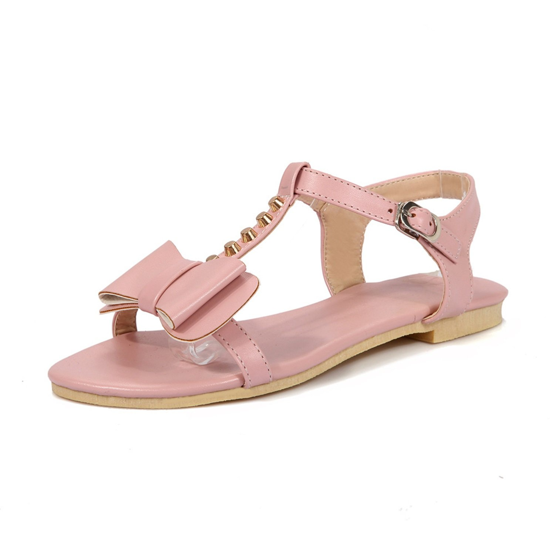3784c59ca31f27 Damenschuhe Wildleder New Spring Summer Comfort Sandalen Flachboden Nieten  Bowknot Schouml ne Damen Schuhe Fuuml