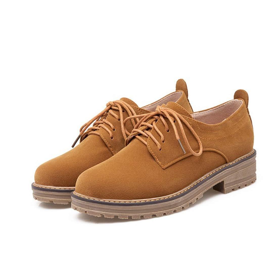 Sandalette-DEDE Bottes Confortables pour Femmes, Chaussures décontractées à Lacets Talons Bas, Chaussures à Lacets à pour étudiants 37|Camel 118073