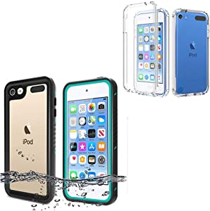 iPod Touch 7 Touch 6 Touch 5 Case, BESINPO Full Body Built-in Screen Protector Waterproof Blue/Black Case + No-Waterproof Clear Case for iPod Touch 7th/6th/5th Generation