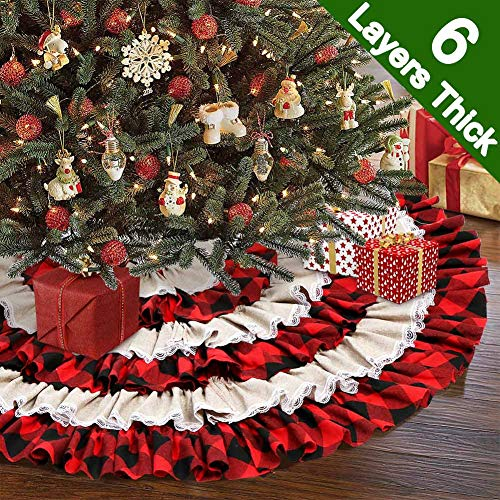 Aytai Christmas Tree Skirt 48 Inch Red and Black Xmas Tree Skirts with 6 Layers Ruffled, Burlap Xmas Tree Skirt for Holiday Decorations (Red Tree Christmas Skirt Burlap)
