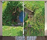 Hobbits Curtains 2 Panel Set by Ambesonne, Fantasy Hobbit Land House in Magical Overhill Woods Movie Scene Image New Zealand, Living Room Bedroom Decor, 108 W X 90 L Inches, Green Brown Blue