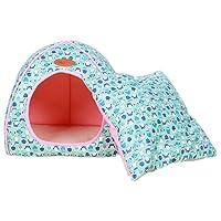 Nido De Mascota De Lujo Extraíble Suave Y Acogedora Puppy Kitten Bed Cálida Casa Plegable De Perro Y Gato Invierno Cama Azul XL