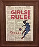 Girls Rule Soccer Sports Dictionary Book Page Artwork Print Picture Poster Home Office Bedroom Kitchen Wall Decor - unframed