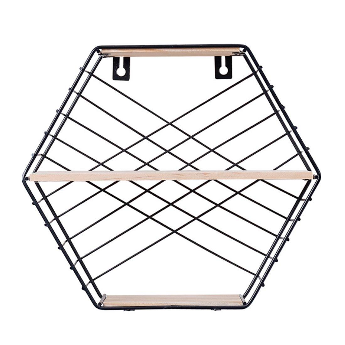 HMANE 3-Tier Wall Storage Rack,Decorative Hanging Hexagon Shelf Organizer for Kitchen,Bathroom,Office - Black by HMANE (Image #7)