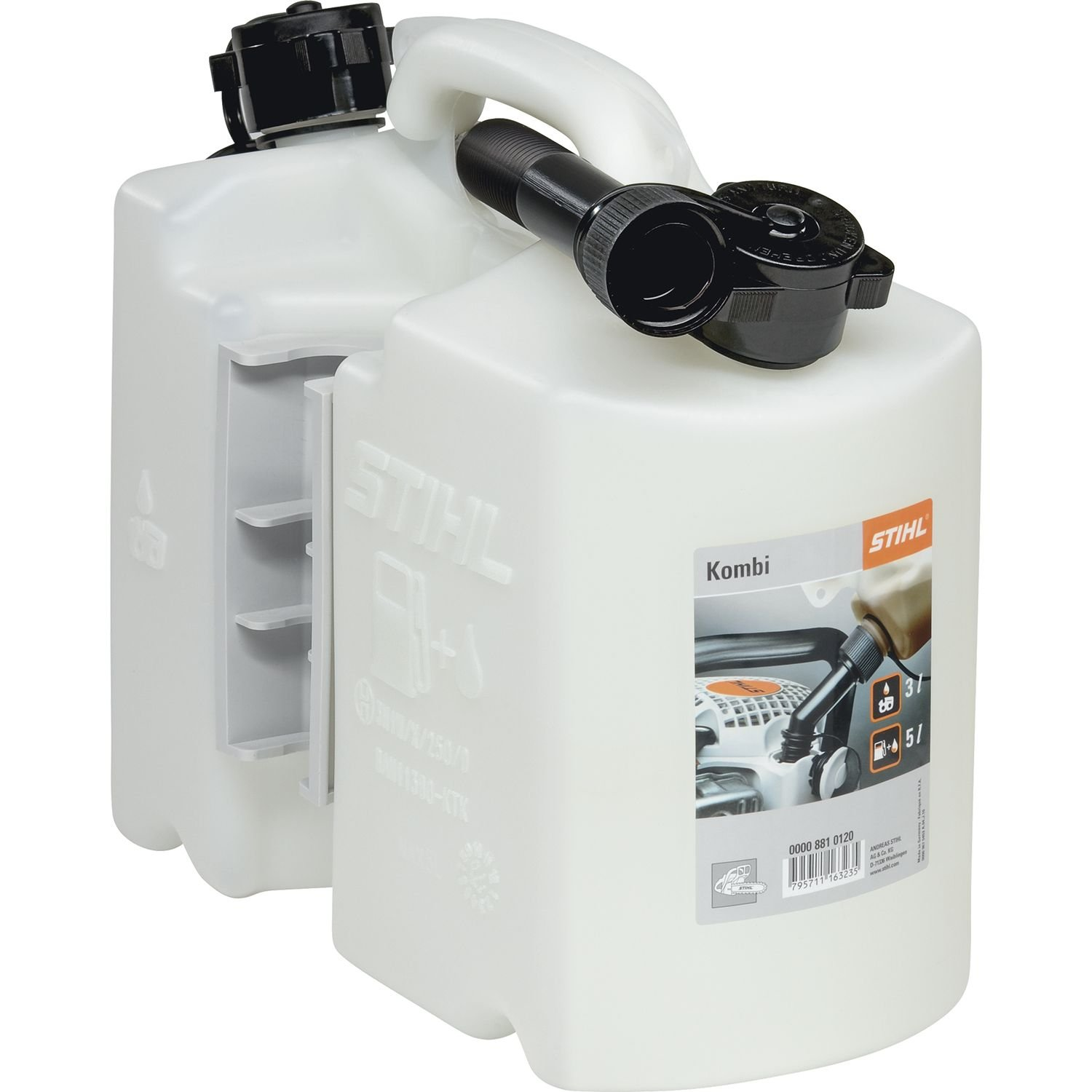 Stihl 8810120 Two-Part Fuel Can for 5L Fuel and 3L Oil – Clear 101182510