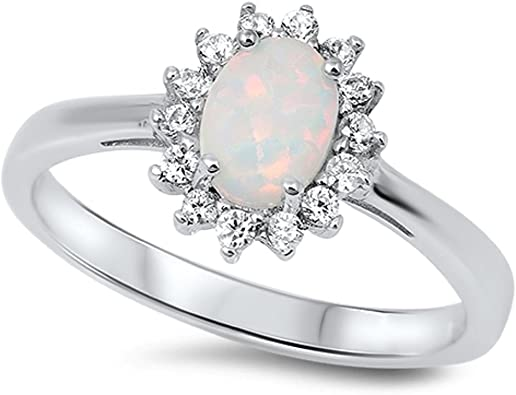 CloseoutWarehouse Sun Cluster White Simulated Opal 925 Sterling Silver Size 5