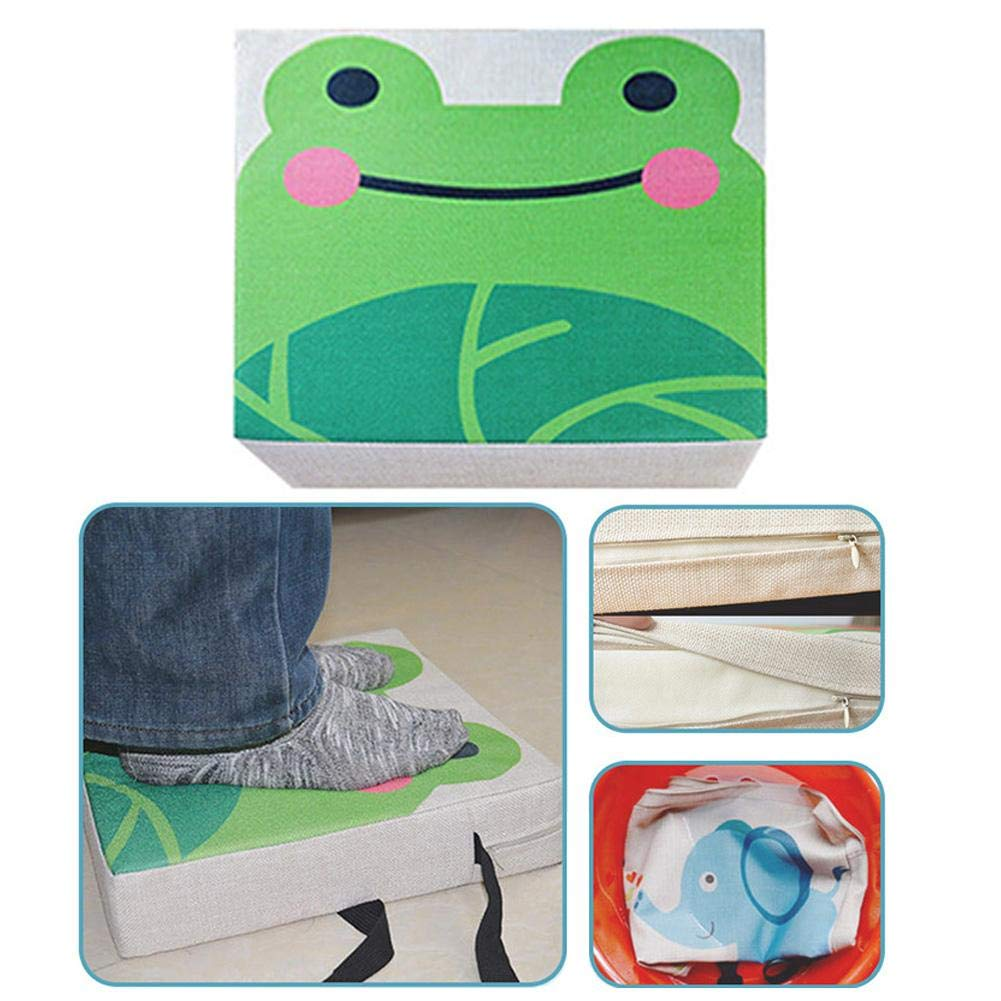 Portable Adjustable Cute Animal Print Flax High Piano Chair Seat Pad Square Nonslip Harness Cushion Booster Seat Mat for Baby Toddler Dining Chair Heightening Cushion Set with One Thicken One Thin