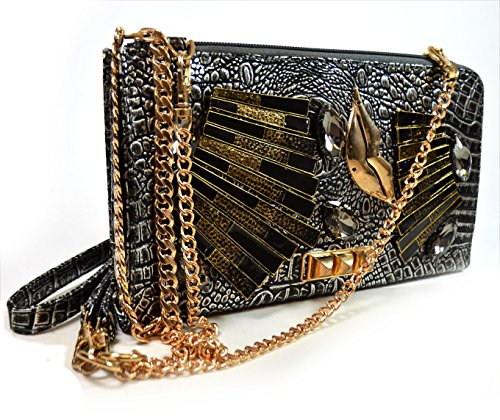 A+ Handmade Metallic Evening Bag with Metal Lips Pyramid Studs and Triple Option Adjustable Chain Shoulder Straps: ZH3014-PR