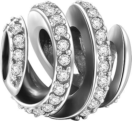 SOUFEEL Pave Spiral Charm Beads for Bracelets/Necklace 925 Sterling Silver  Charm Bracelet Stoppers for European Bracelets Gift for Women Girls Kids