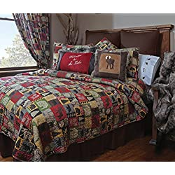 Carstens Cabin in The Woods 5 Piece Cotton Printed Quilt Bedding Set, King