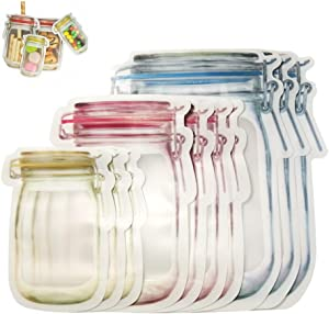 Anbibo Seal Bags,10pcs Reusable Mason Jar Bottles Bags Portable Ziplock Bag Fresh Food Storage Bag Kitchen Organizer