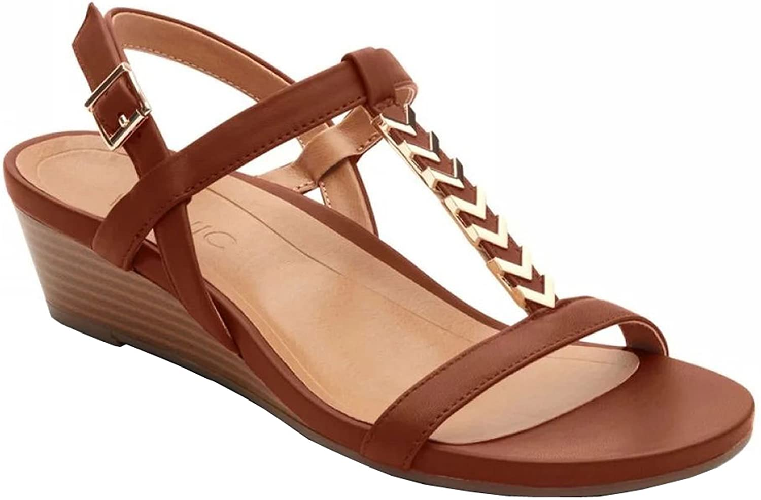 Vionic Womens Cali Wedge Sandal, Rust, Size 10 Wide B071JW19VP Parent
