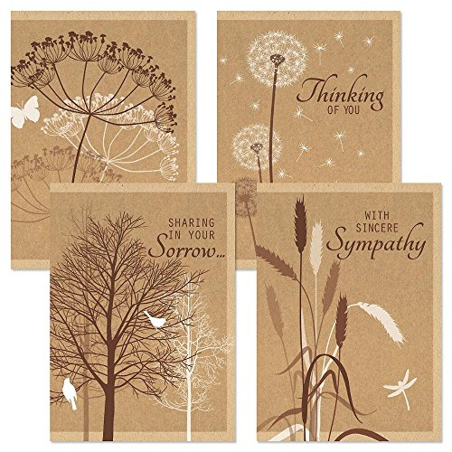 - Kraft Sympathy Greeting Cards - Set of 8 (4 designs), Large 5 x 7, Sentiments Inside, Thinking of You in Sympathy Cards