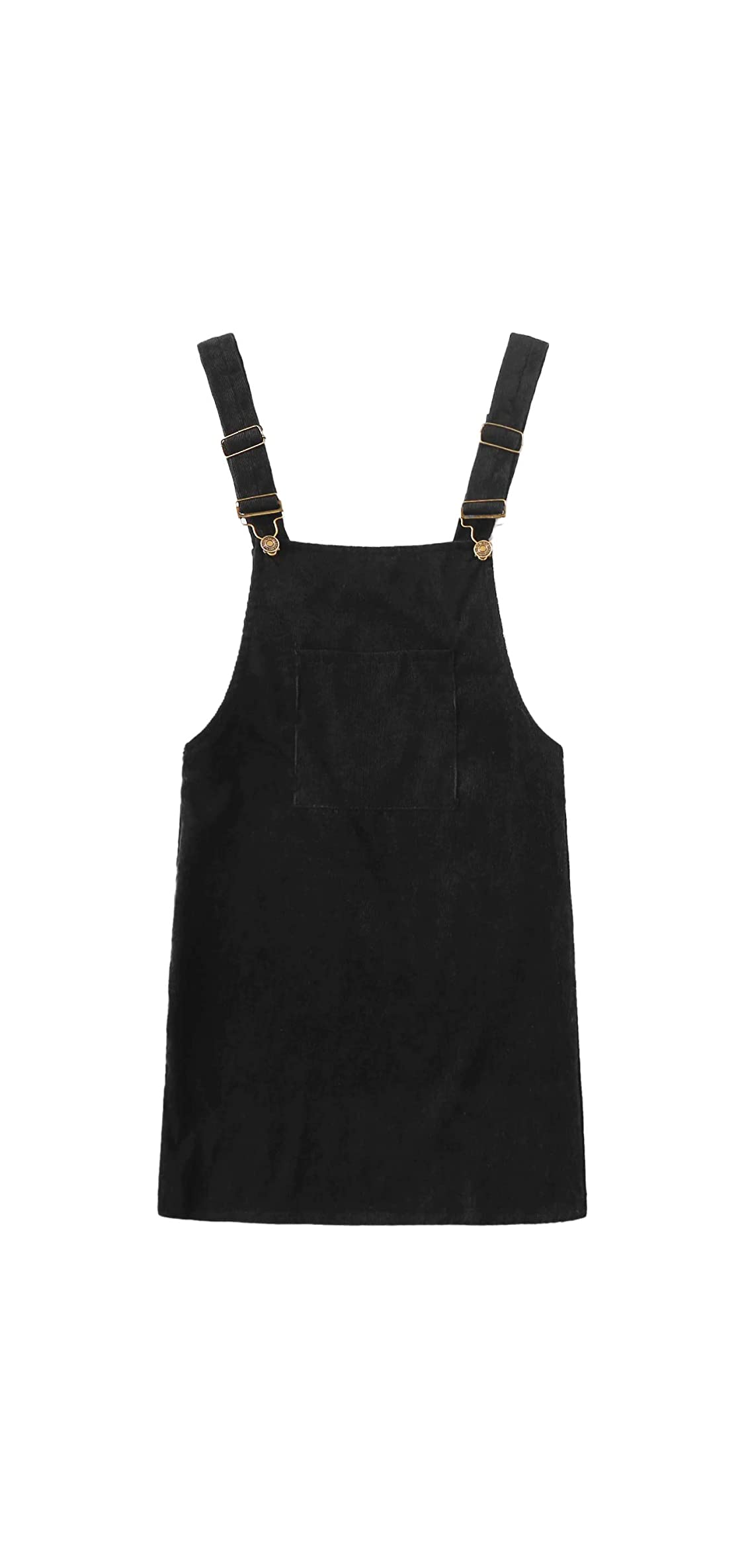 Women's Corduroy Button Down Pinafore Overall Dress With