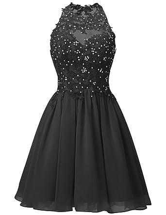 Chiffon Short Homecoming Dress Halter Neck Appliques Prom Dresses AiniDress Black Size 2