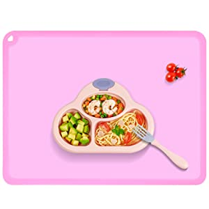 Silicone Kids Placemat, Non-Slip Baby Feeding Mat , BPA Free Table Dining Food Mat for Children Baby Toddler, Baby Purple