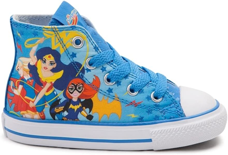 b9e23f7cf3a4 Converse Youth Chuck Taylor All Star Hi Superhero Girls Sneaker Italy Blue  White Red